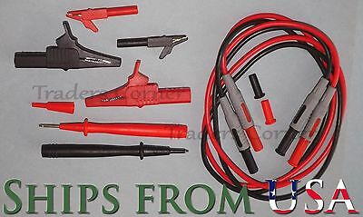 """Small & Large Alligator Clips, Probe Tips & 40"""" Cables Fluke & Other Multimeters"""