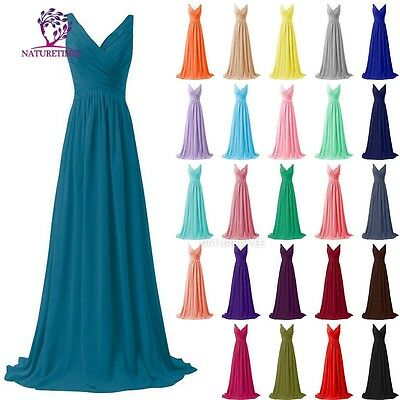 2017 Straps Chiffon Long Bridesmaid Formal Prom Party Ball Evening Dress Size