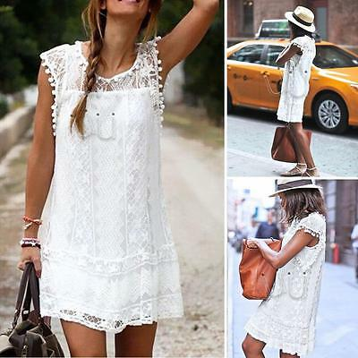 Women Summer Short Mini Dress Casual Sleeveless Evening Party Beach Sundress New