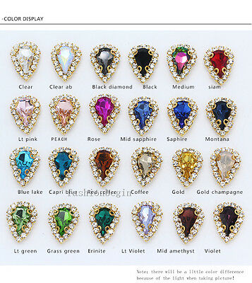 15p 8x13mm Costume Dress Teardrop crystal Rhinestones Applique Sewing On Buttons