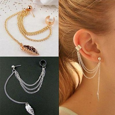 Elegant Fashion Jewelry Silver Plated Stud Long Earrings Chain Women Dangle