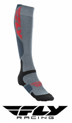 Fly Racing Mx Pro Thick Motocross Socks Tall Sock Grey/black Adult Size