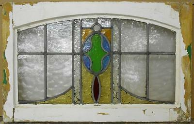 "MID SIZED OLD ENGLISH LEADED STAINED GLASS WINDOW Arched Abstract 25"" x 16"""