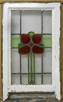 "MID SIZED OLD ENGLISH LEADED STAINED GLASS WINDOW Floral Sash 16.5"" x 24.75"""
