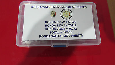 Ronda New  Watch Movements Assorted Total 12 Pcs