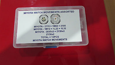 New Miyota Watch Movements Assorted Total 12 Pcs Free Postage