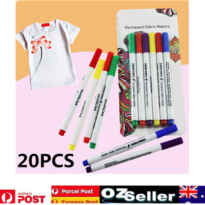 20x Multi-color DIY T-Shirts Shoes Clothes Tip Fabric Textile Paint Marker Pens