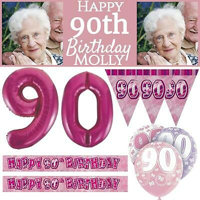 Pink Age 90 Happy 90th Birthday Party Decorations Female Celebrate