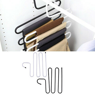 Quality Metal Magic Pants Hanger Space Saver Rack Jeans Scarf Tie Closet Tool GF