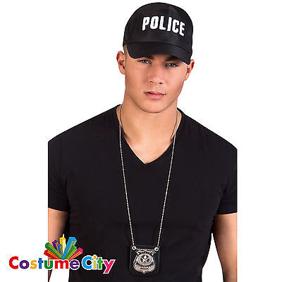 Adults Metal Police Detective Badge Necklace Cop Fancy Dress Costume Accessory