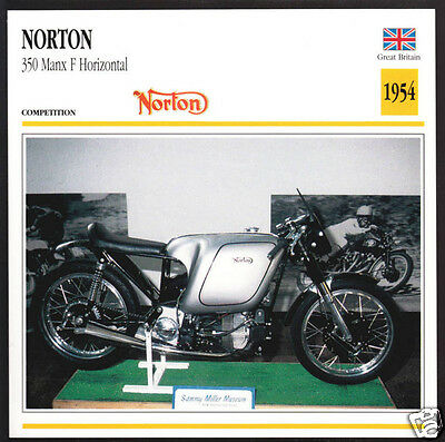 1954 Norton 350cc Manx F Horizontal (348cc) Race Motorcycle Photo Spec Info Card
