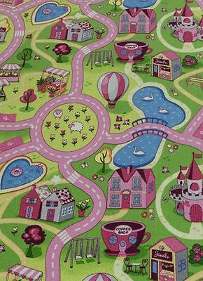 Childrens Rug Sweet Town, Kids Fun Carpet Girls Boys Playroom Mat Bedroom Road