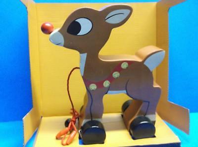 Rudolph the Red Nosed Reindeer Solid Wood Pull Toy Walking Action Christmas