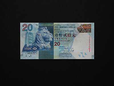 Hong Kong  $20 Lion  P212  Banknote  -  Stunning Issue  -  Date 2012 -  Mint Unc