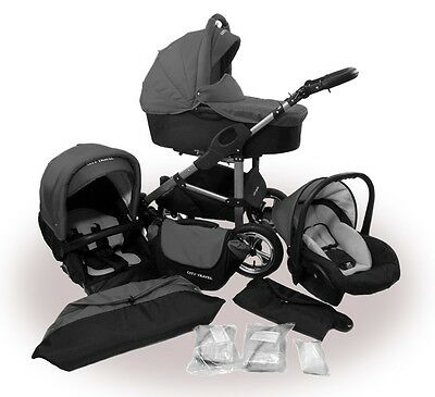 Kinderwagen PolBaby Filio, 3 in 1- Set Wanne Buggy Babyschale Graphite