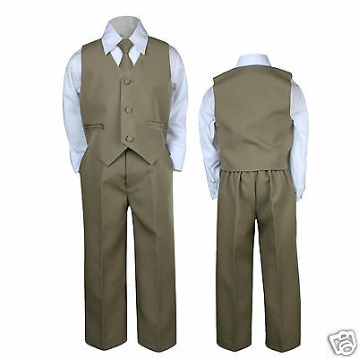 4pc Dark Khaki Baby Toddler kids Boys Wedding Formal Vest Suits Set Outfits S-7