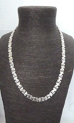 """Solid Sterling Silver.925  Flat Byzantine Chain 22"""" 65 grams - Heavy"""