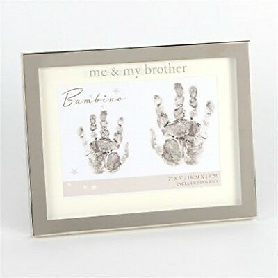 """Bambino Silver Plated Hand Print Frame- Me and my Brother 7""""x5"""""""