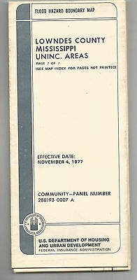 1977 Flood Hazard Boundary Map Lowndes County Mississippi