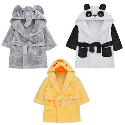 Childrens / Toddlers Soft Fleece Dressing Gown with Animal Hood ~ 6-24 Months