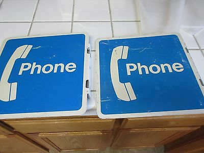 """Vintage 2 Sided Payphone Metal Sign 12"""" x 12"""" Mounting Flange QTY"""