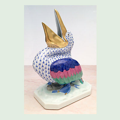 Herend Porcelain Large Pelican Figurine Blue Fishnet Pattern 5073