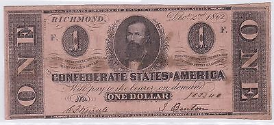 One Dollar Confederate States Of America 2 Decembre 1862 (9)