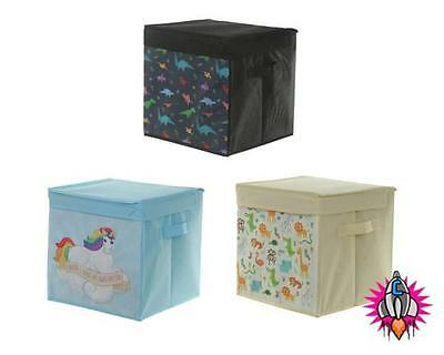 Large Funky Canvas Storage Box With Lid Toy Room Tidy Unicorns Dinosaur Zoo