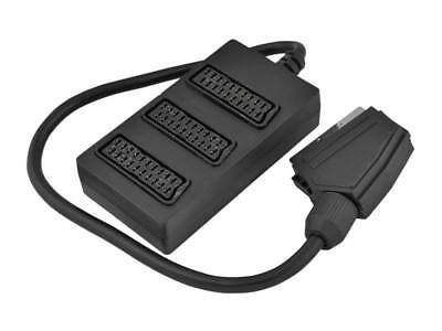 3 Way Scart Splitter Socket Extension Adapter Plug To 3 Sockets 35Cm Cable