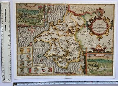 "Old Tudor map of Pembrokeshire, Wales: John Speed 1600's 15"" x 11"" (Reprint)"