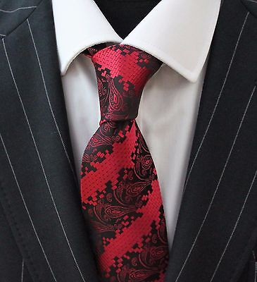 Tie Neck tie with Handkerchief Red with Black Paisley Stripe