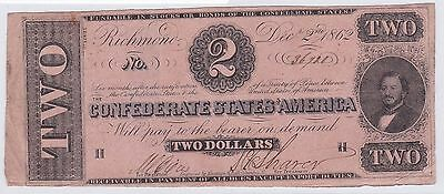 Two Dollar Confederate States Of America 2 Decembre 1862 (5)