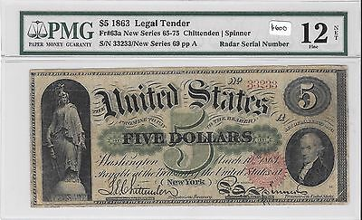 Fr63a 1863 $5 Legal Tender Red Seal F12 NET *RADAR Serial Number*