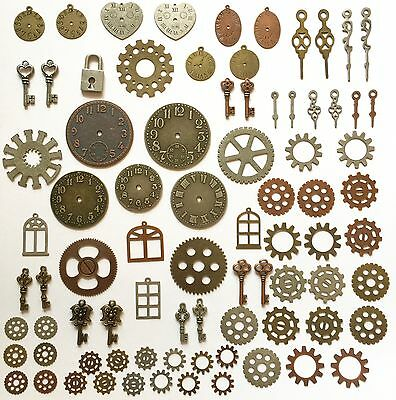 81 Steampunk Metal Gears Findings Charms Jewelry Watch Parts Silver Brass Copper