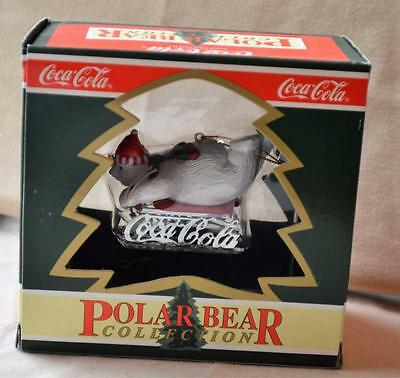 NIB 1995 COCA-COLA Polar Bear Collection DOWNHILL SLEDDER Christmas Ornament