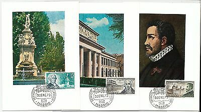 63744  - SPAIN - POSTAL HISTORY: set of 3 MAXIMUM CARD 1973 -  ARCHITECTURE