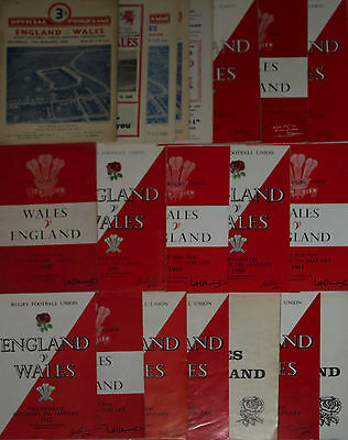 ENGLAND v WALES RUGBY PROGRAMMES 1954 to 1996 *****CHEAPEST ON EBAY*****