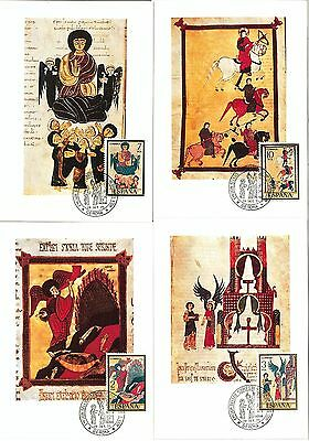 63760 - SPAIN - POSTAL HISTORY: set of 8 MAXIMUM CARD 1975 -  ART Religion BIRDS
