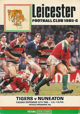 Leicester vNuneaton 10 Sep 1985 RUGBY PROGRAMME