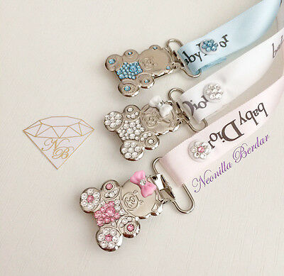 Pacifier clip made with Swarovski Crystals. Teddy Bear Metal Clip