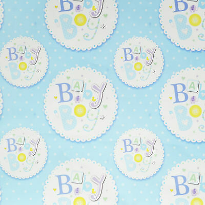 New Baby Boy Gift Wrapping Paper 2 Sheets 2 Tags Blue Birthday