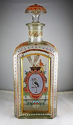 Rare Antique Dutch Haag Hand Painted Bottle Stork, Windmill, Orange, Blue, Whi