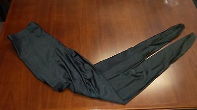 Shiny Shimmer Black Lycra Spandex Footed Leggings 80's NWOT Size Small-Rare