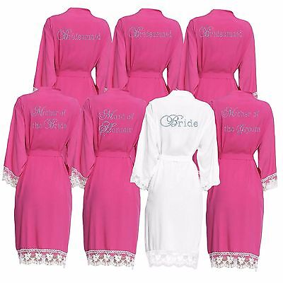 Personalised Cotton Lace Wedding robes set of 5 ,Bridal Dressing Gown,Bridesmaid