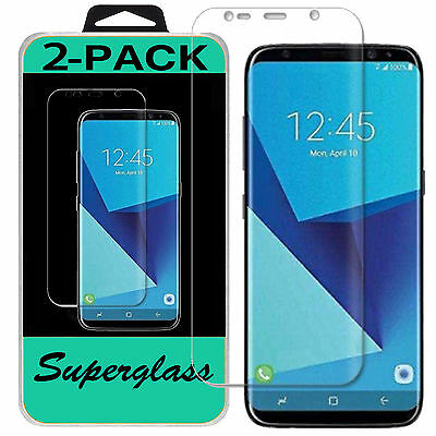 2X Samsung Galaxy S8 Superglass HD Clear Full Coverage Screen Protector