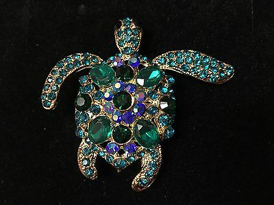 "Turtle Brooch pin blue rhinestones 2 1/4""x2"" scuba diving snorkeling surf GIFT"