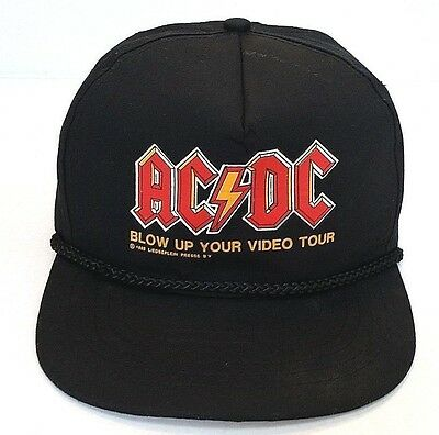 TRUE VINTAGE--1988 AC/DC BLOW UP YOUR VIDEO TOUR BLACK HAT--Snapback Cap--EUC
