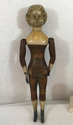 Antique Rare wood doll 1873 Springfield with metal hands legs 18 th Century
