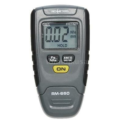 New RICHMETERS RM660 Handheld LCD Digital Paint Coating Thickness Gauge Test US
