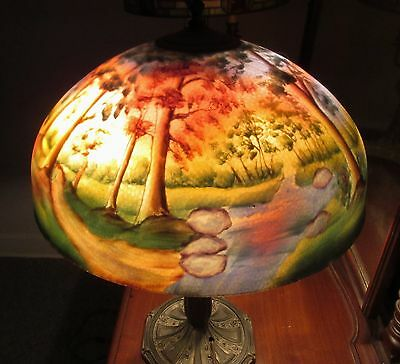 Vintage Reverse Hand Painted Shade with Lamp.